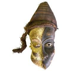 African Pende Mbangu Asymmetrical Carved Wood Mask