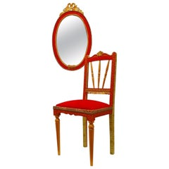 "African Queen""Rainha Ginga"" Eclectic Set Mirror & Chair Gilt Red & Leopard Paper"