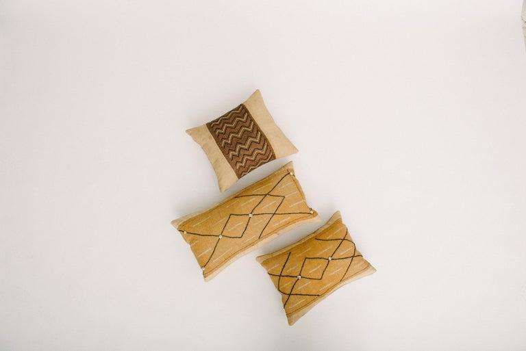 African Raffia Kuba Textile Pillows In Good Condition In Houston, TX