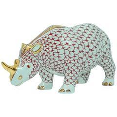African Safari Porcelain Figural Rhinoceros Herend Hungary