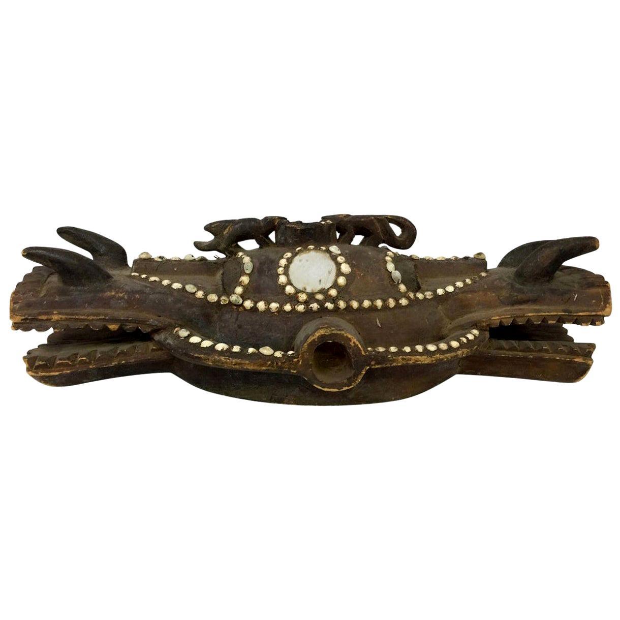 African Senufo Large Heavy Janus Firespitter Helmet Mask Wanyugo