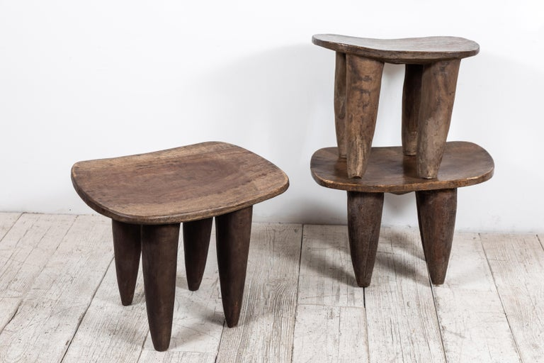Vintage, hand carved iroko wood stool or small table from the Senufo tribe in Mali, Africa. Soft and smooth patina. Comfortable to sit on or perfect as a side table.   Each stool has slightly varied measurements.