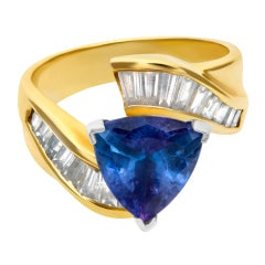 African Tanzanite and Diamond Ring in 18k
