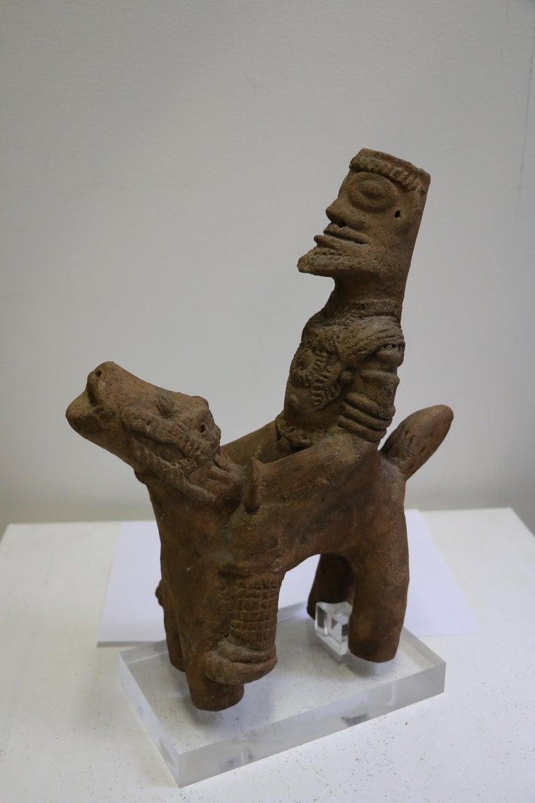 Ghanaian African Terracotta Equestrian Sculpture, Ghana, 14-15th AD Century For Sale