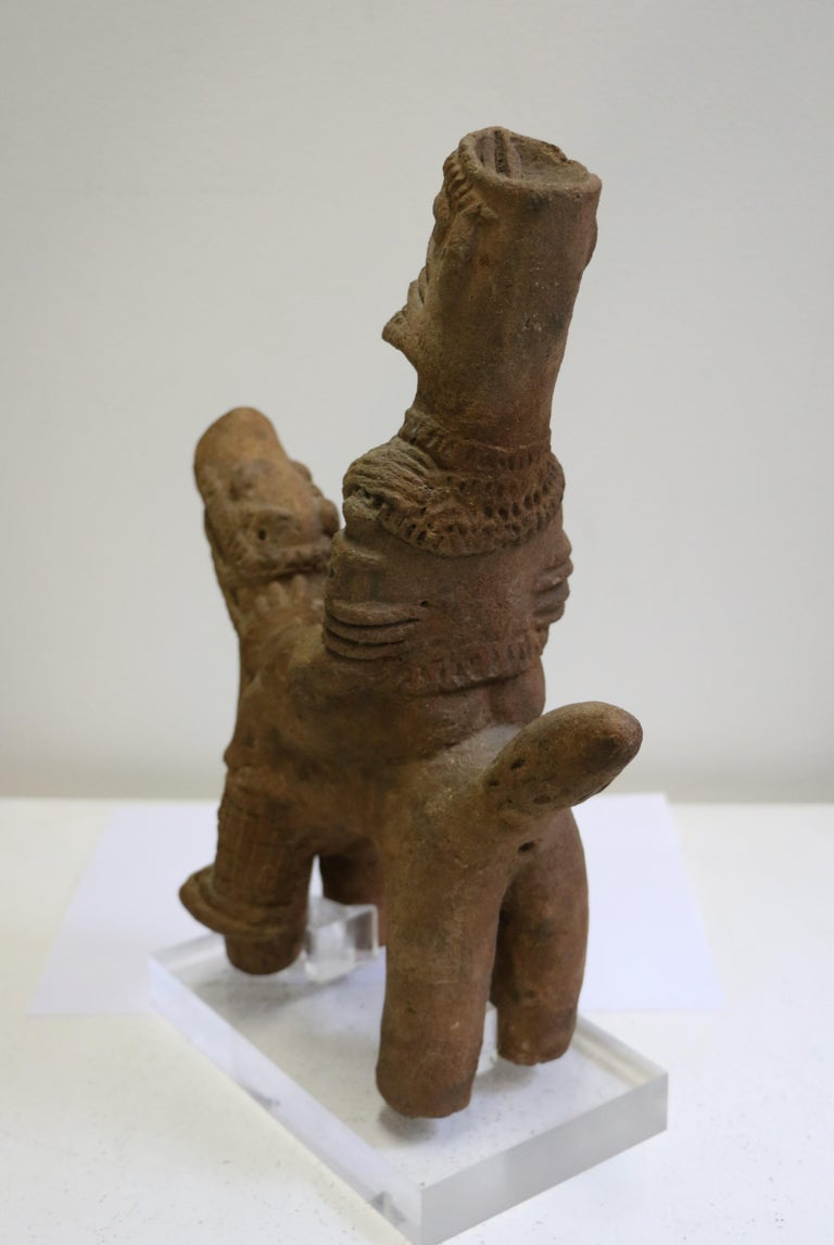 African Terracotta Equestrian Sculpture, Ghana, 14-15th AD Century For Sale 1