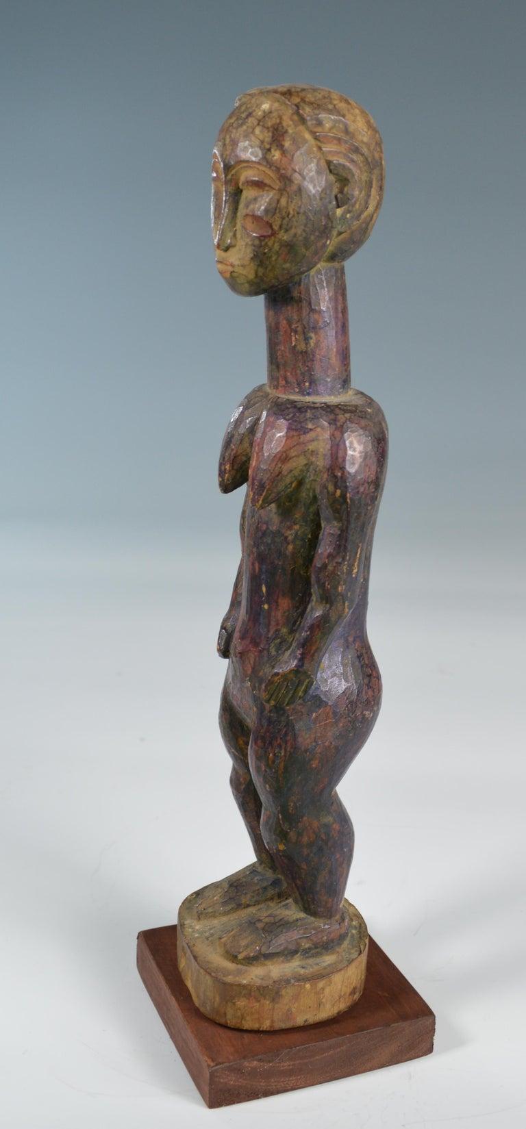 Ivorian African Tribal Art Fine Old Baule Baule Blo Bian Female Figure For Sale