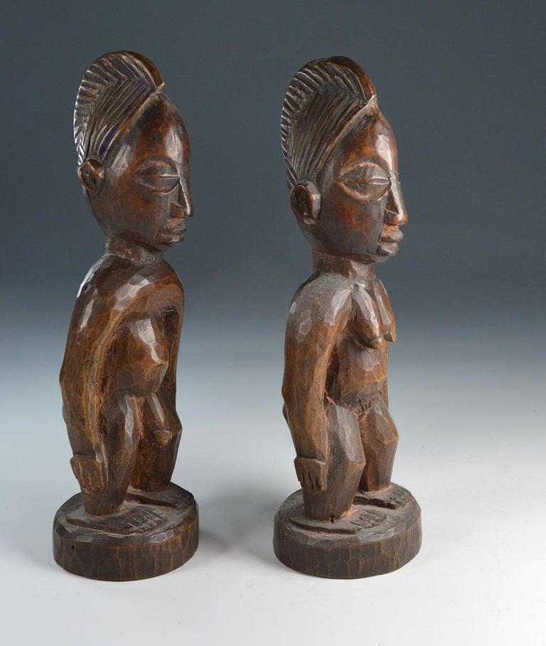 Nigerian African Tribal Art Fine  Pair of Yoruba Ibeji Figures Gbongan For Sale