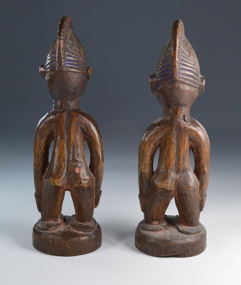 African Tribal Art Fine  Pair of Yoruba Ibeji Figures Gbongan In Good Condition For Sale In London, GB