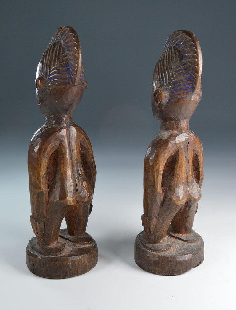 20th Century African Tribal Art Fine  Pair of Yoruba Ibeji Figures Gbongan For Sale