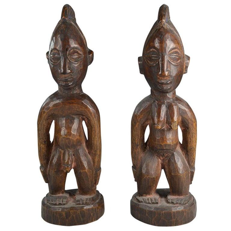 African Tribal Art Fine  Pair of Yoruba Ibeji Figures Gbongan For Sale