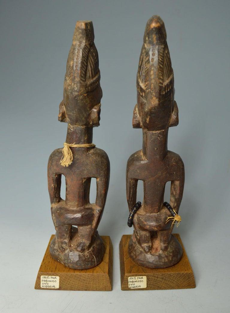 Nigerian African Tribal Art Fine Pair of Yoruba Ibeji Figures, Ogbomoso Oyo