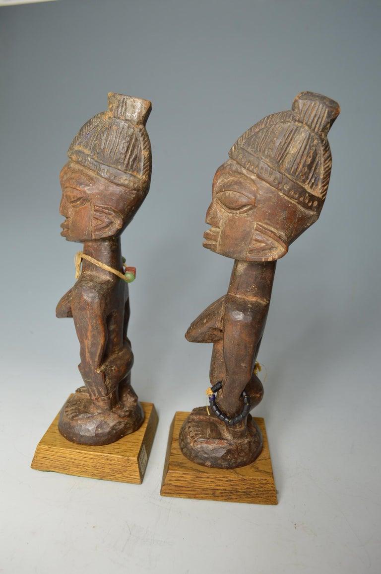 African Tribal Art Fine Pair of Yoruba Ibeji Figures, Ogbomoso Oyo In Good Condition In London, GB