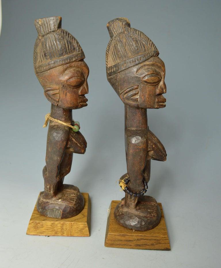 20th Century African Tribal Art Fine Pair of Yoruba Ibeji Figures, Ogbomoso Oyo