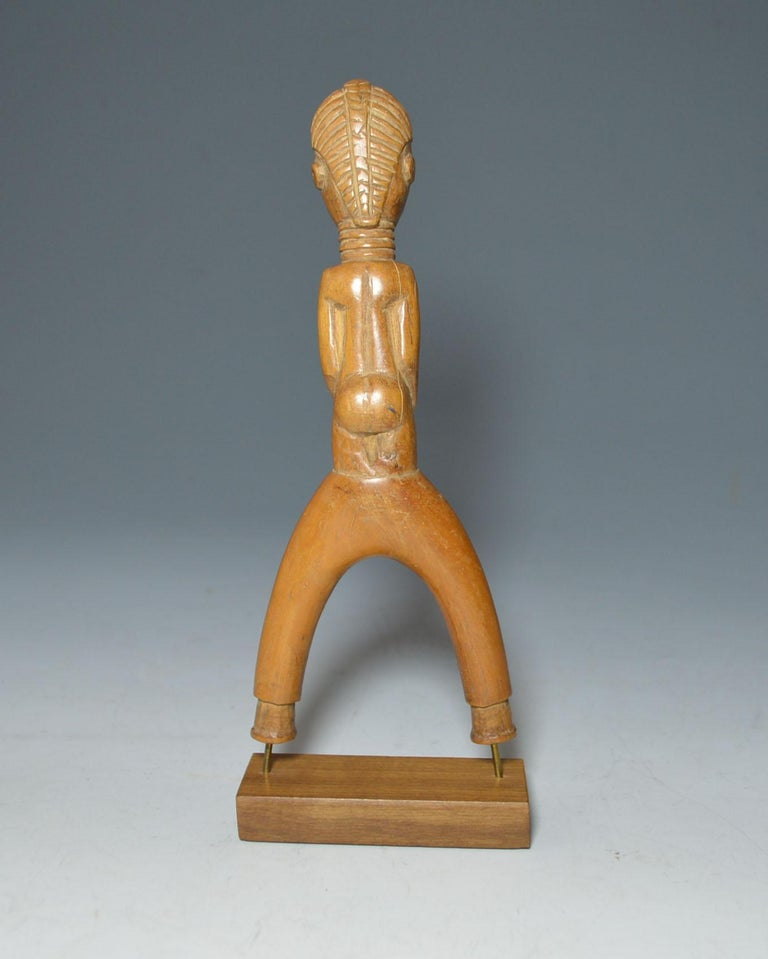 Ivorian African Tribal Art Fine Rare Baule Figurative Catapult Sling Shot For Sale