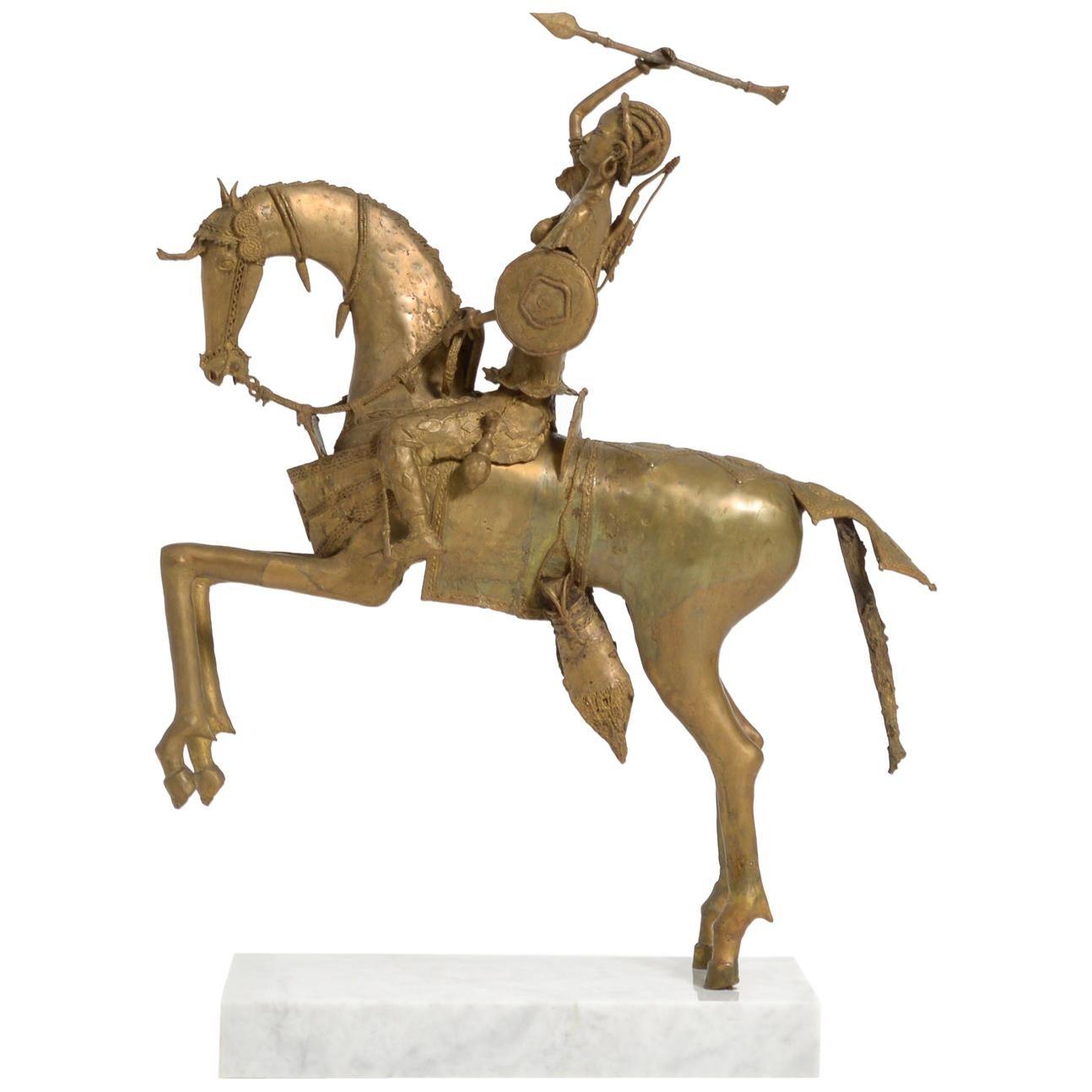 African Tribal Bronze Sculpture, Female Warrior on a Horse