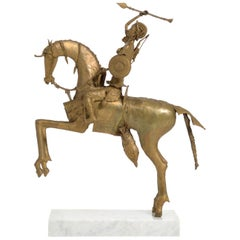 African Tribal Bronze Sculpture, Female Warrior on a Horse
