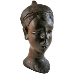 African Tribal Chief Zebra Wood Sculpture/Folk Art
