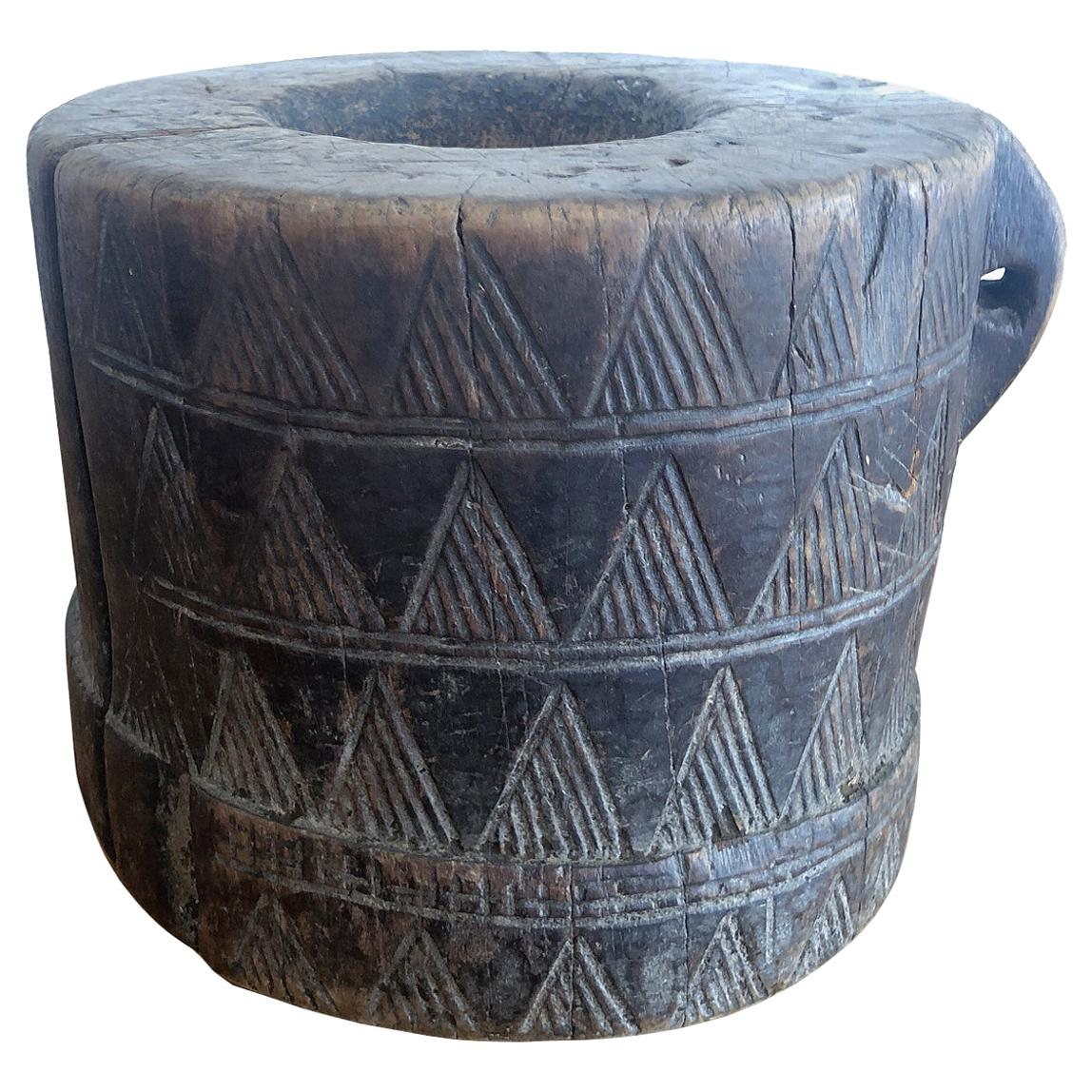 African Tribal Coffee Mortar in Carved Wood from the Kaffa People in Ethiopia