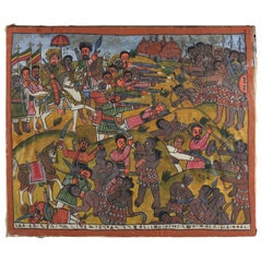 African Tribal Folk Art Oil on Hide of Battle during European Crusades