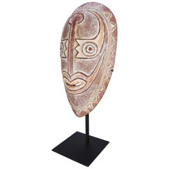 African Tribal Hand Carved Ceremonial Mask on Stand, 20th Century
