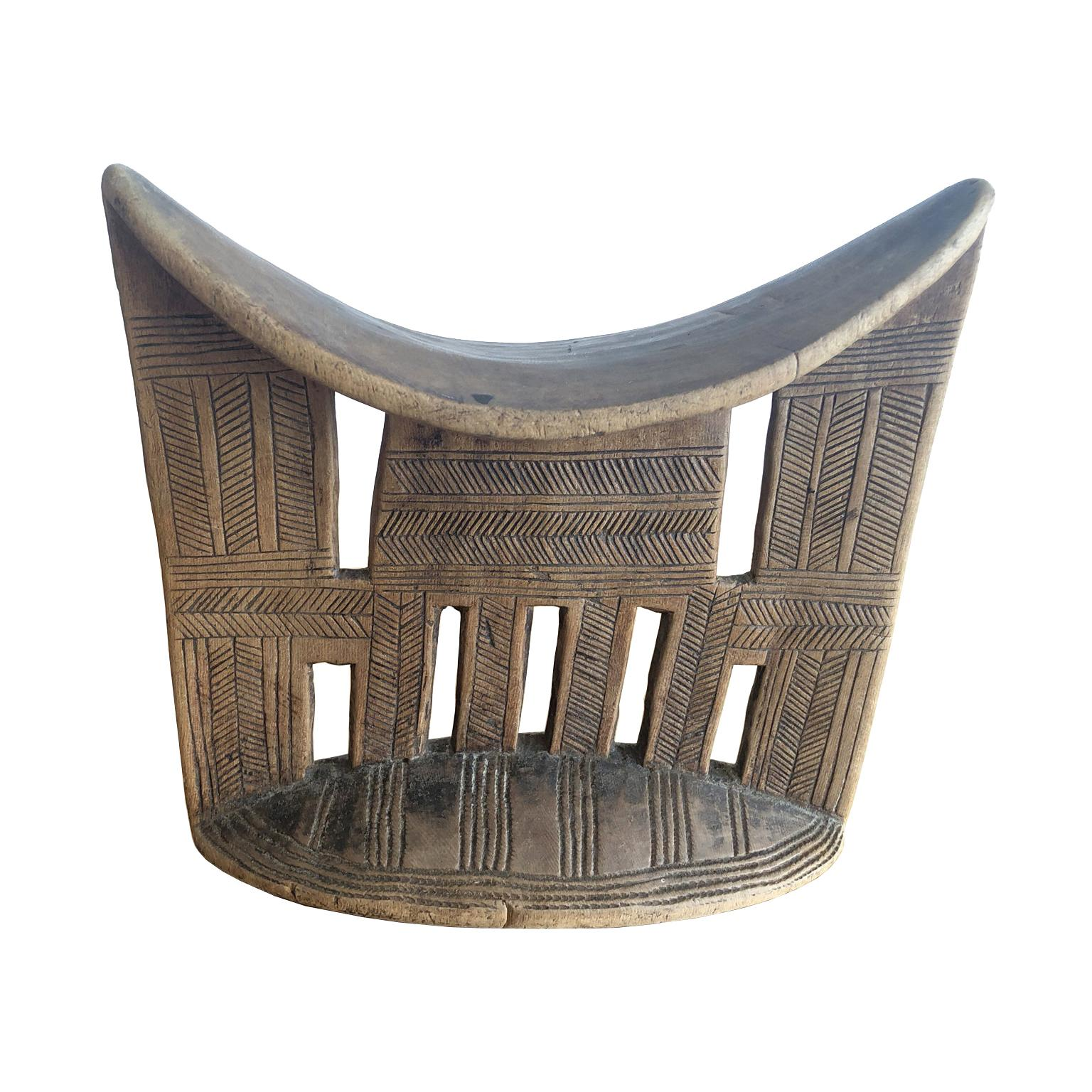 African Tribal Headrest in Carved Wood from the Sidama People of Ethiopia