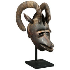 African Tribal Large Ram Mask, Bobo Burkina Faso Early 20th Century Africa