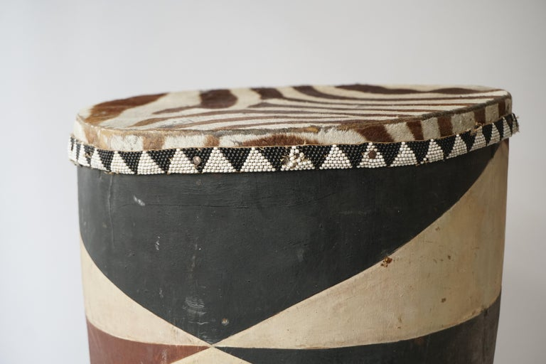 African Tribal Painted Hide Drum Table with Zebra Covering from Congo For Sale 2