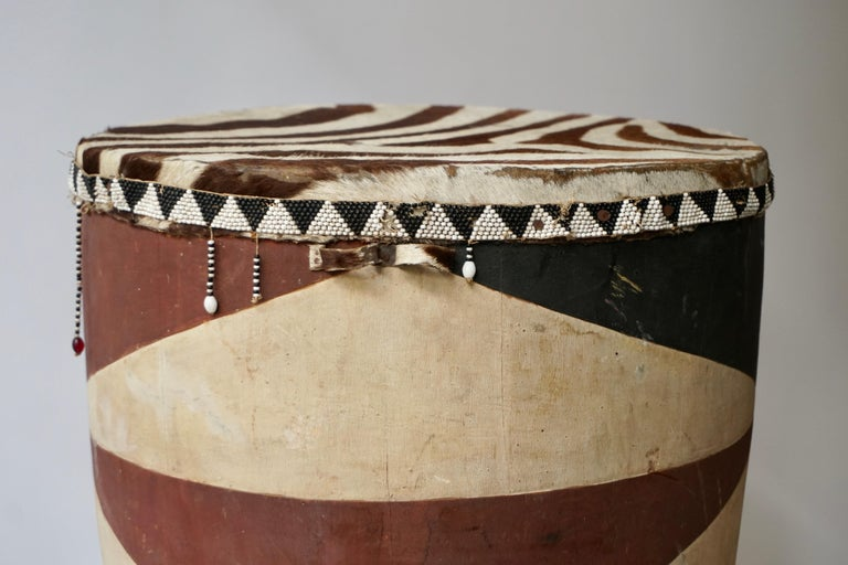 African Tribal Painted Hide Drum Table with Zebra Covering from Congo For Sale 3