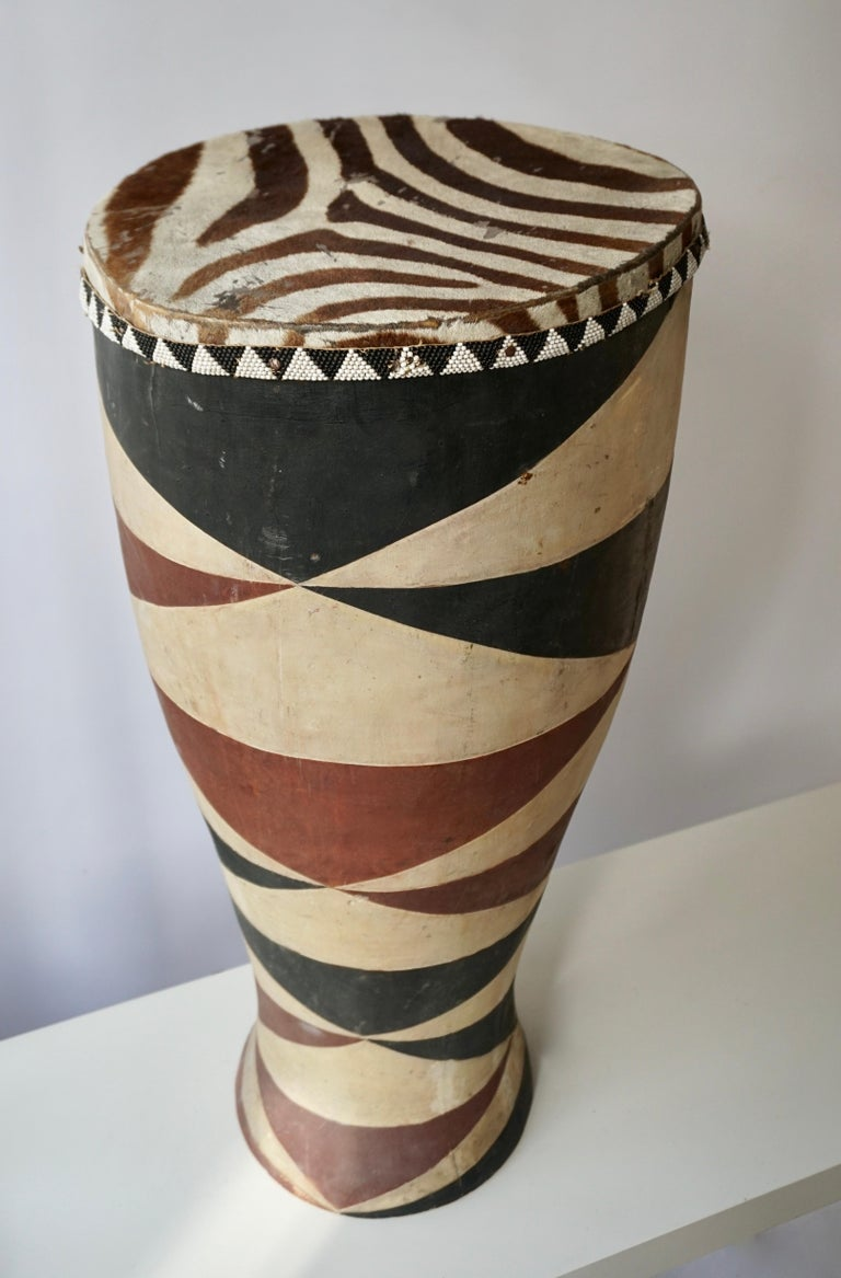 Hollywood Regency African Tribal Painted Hide Drum Table with Zebra Covering from Congo For Sale