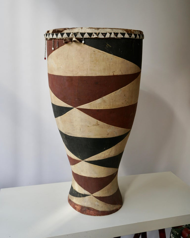 Congolese African Tribal Painted Hide Drum Table with Zebra Covering from Congo For Sale
