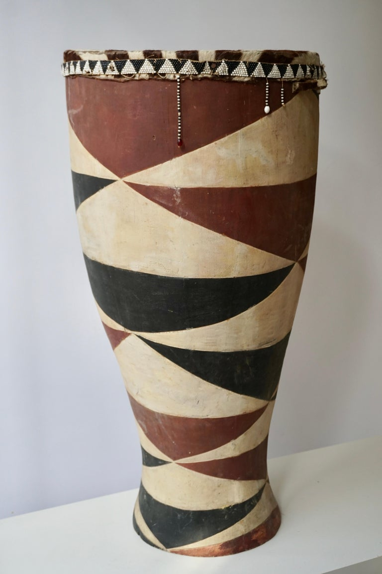 Hand-Painted African Tribal Painted Hide Drum Table with Zebra Covering from Congo For Sale