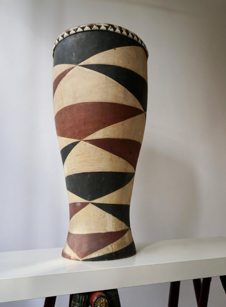 20th Century African Tribal Painted Hide Drum Table with Zebra Covering from Congo For Sale