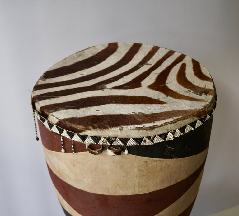 Zebra Hide African Tribal Painted Hide Drum Table with Zebra Covering from Congo For Sale