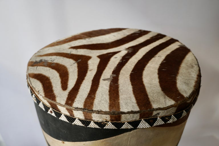African Tribal Painted Hide Drum Table with Zebra Covering from Congo For Sale 1