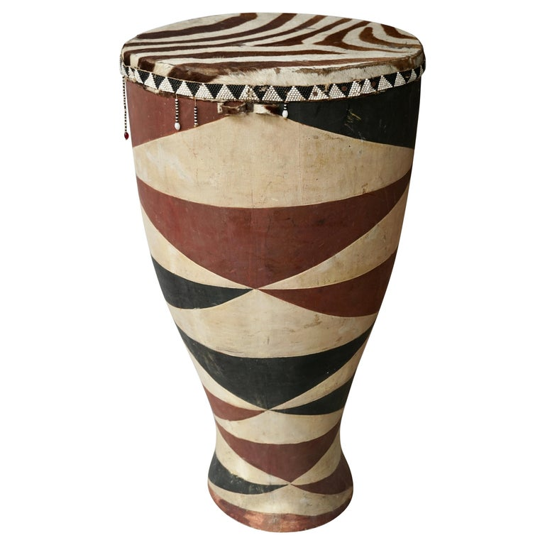 African Tribal Painted Hide Drum Table with Zebra Covering from Congo For Sale