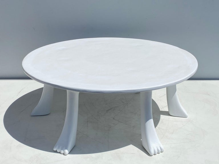 American African Tribal Table in Plaster For Sale