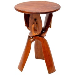 African/Tribal Tripod Folding Pedestal or Table, 1960s