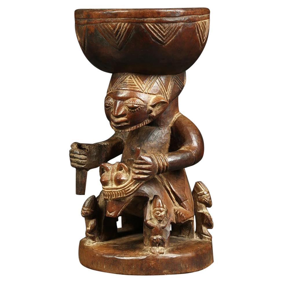African Tribal Yoruba, Nigeria Rider Figure Offering Bowl, Early 20th Century