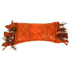 African Tuareg Hand-Tooled Leather Pillow with Fringes
