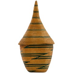 African Tutsi Agaseki Basket with Conical Lid