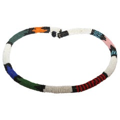 African Urembo Beaded Vintage Necklace Choker by the Maasai Tribe Kenya
