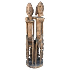 African Vintage Wood Statue of Couple from Celebrity Holden Estate