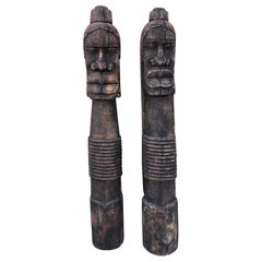 African Vintage Wood Statues Masai Tribe Man & Woman from William Holden Estate