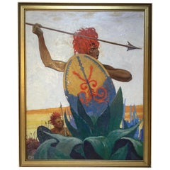 African Warrior by Charles Hargens Oil Painting on Board