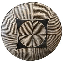 African Warrior Shield with Wood Carved Pattern #2