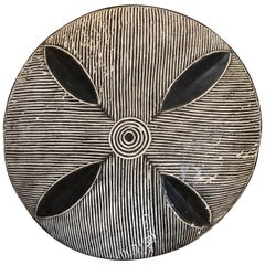 African Warrior Shield with Wood Carved Pattern