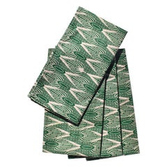 African Wax Formal Cloth Dinner Napkins in Green Block Print, Set of 4
