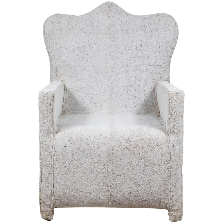 African White Beaded Chair, Nigeria, Nobility Chairs For Sale