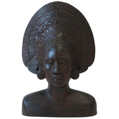African Wood Female Bust Figurative Sculpture