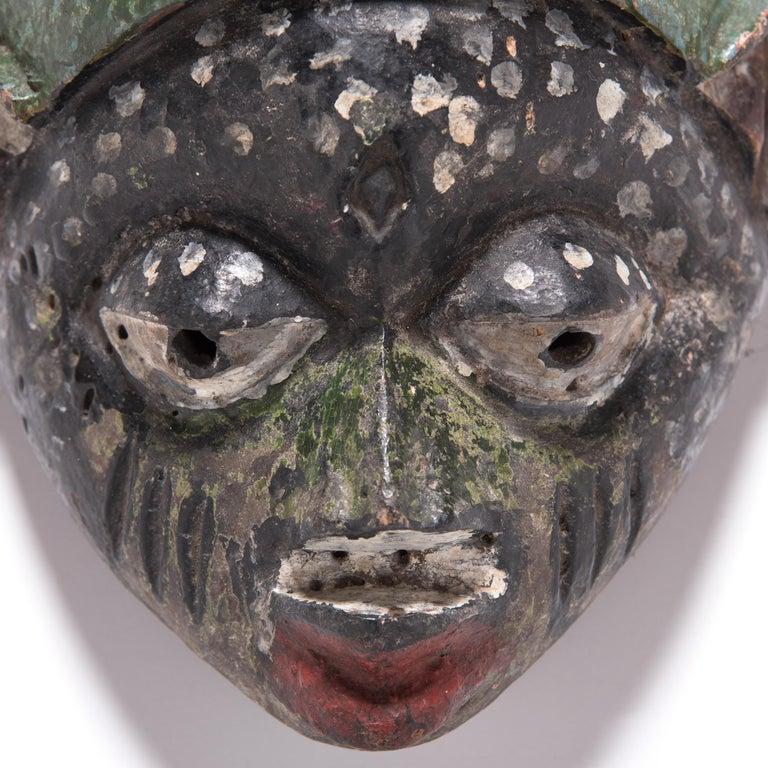 Tribal African Yoruba Painted Gelede Headdress For Sale